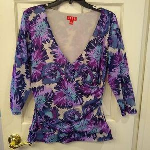 Elle sheer floral long-sleeved blouse - Size L